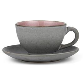 Tasse mit Untertasse grey / light pink 0,24 l
